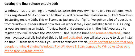 alterações no insider-preview-post do Windows 10
