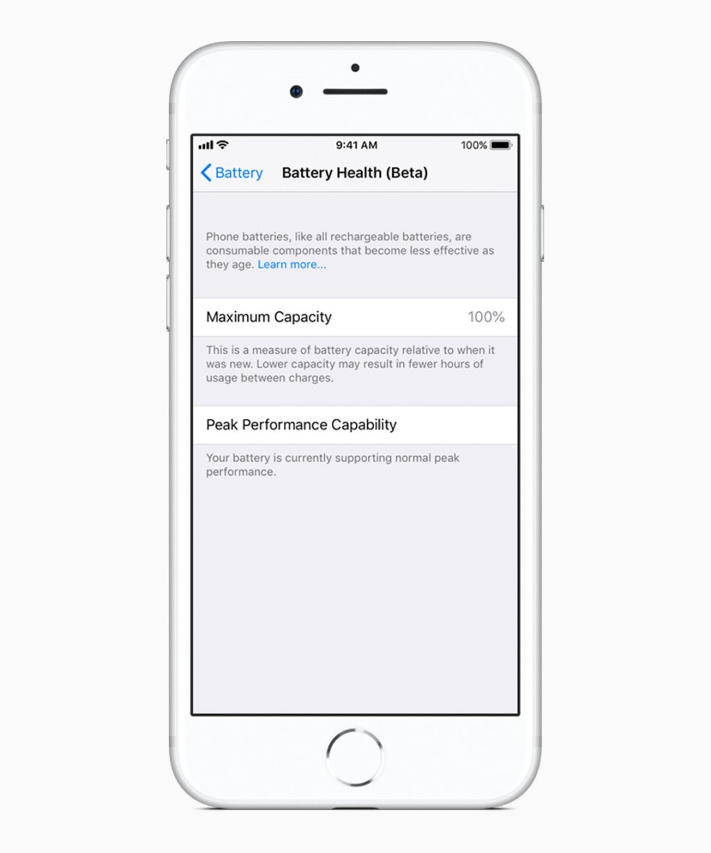 Apple iOS 11 3 tela de integridade da bateria 03292018